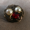Valentine Bird's Nest Charms - Antique Bronze
