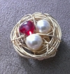 Valentine Bird's Nest Charms - Gold